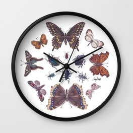 Mosaic of Bugs Wall Clock