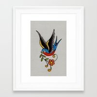 swallow Framed Art Prints featuring swallow by Buffy Ino Kua