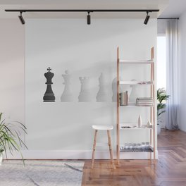 All white one black chess pieces Wall Mural