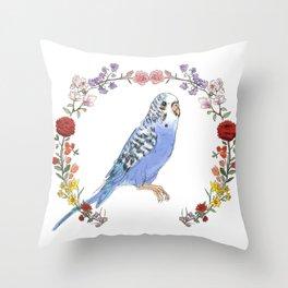 Parakeet in Purple Throw Pillow