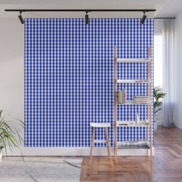 Small Cobalt Blue and White Gingham Check Plaid Squared Pattern Wall Mural