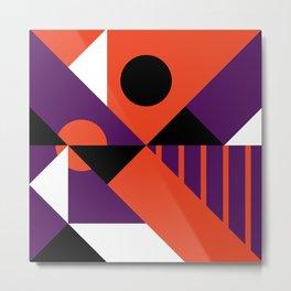 Geometric Black/Orange/Purple Metal Print