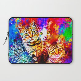 cat trio splatter watercolor colorful background Laptop Sleeve