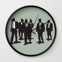 reservoir dogs Wall Clocks featuring Reservoir Dogs by Clayton Dixon