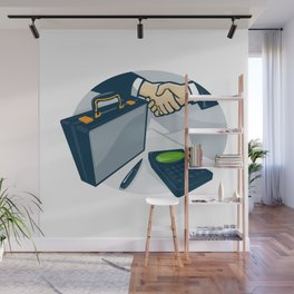 Business Handshake Deal Briefcase Retro Wall Mural