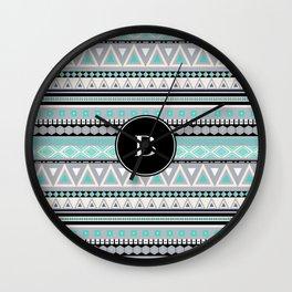 Monogram Tribal Pattern *B* Wall Clock