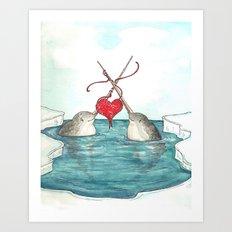 Knitting Narwhals Art Print