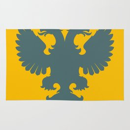 blue-gray double-headed eagle on yellow background Rug