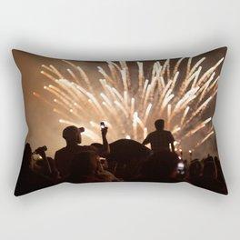 People enjoying fireworks show Rectangular Pillow