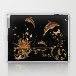 Funny dolphins with flowers Laptop & iPad Skin