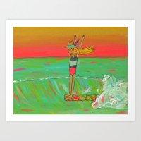 Hang 10 Lady Slider Surfer Girl Art Print