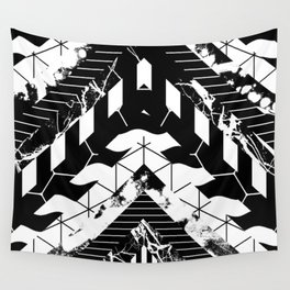 Layered (Black and white, abstract, geometric designs) Wall Tapestry