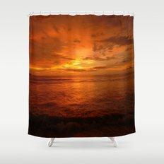 Fiery Orange Sunset 🌅 Shower Curtain