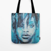 rihanna Tote Bags featuring Rihanna by Nechifor Ionut
