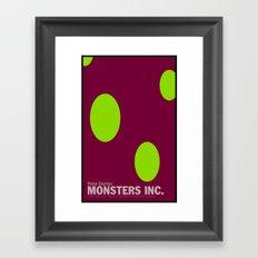 Monsters Inc.   Minimal Movie Poster Framed Art Print
