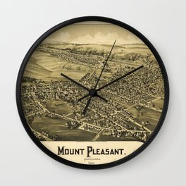 Aerial View of Mount Pleasant, Pennsylvania (1900) Wall Clock