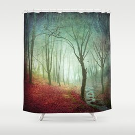 Misty Forest and Creek in Fall Shower Curtain