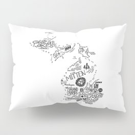 Michigan - Hand Lettered Map Pillow Sham