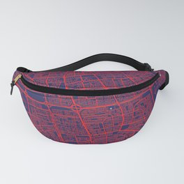 Kuwait City, Kuwait, Blue, White, City, Map Fanny Pack