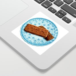 Bourbon biscuits on a plate for tea time Sticker