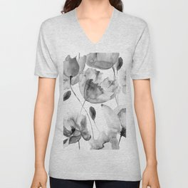 Black and White Watercolor Tulip and Poppy Floral Pattern Unisex V-Neck