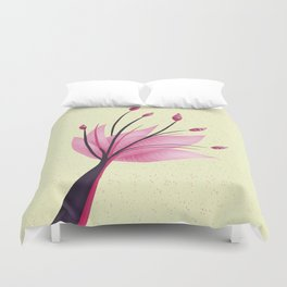 Pink Abstract Water Lily Flower Duvet Cover