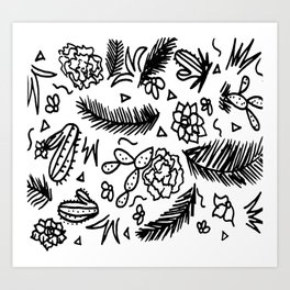 Doodle Cactus Tropical doodles of fun Art Print