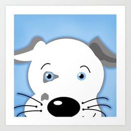 Cute Pit Bull Gray White with Blue eyes Cartoon Art Print