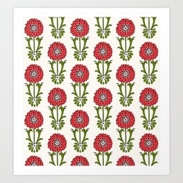 Dot Floral in Red Art Print