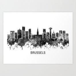 Brussels Belgium Skyline BW Art Print