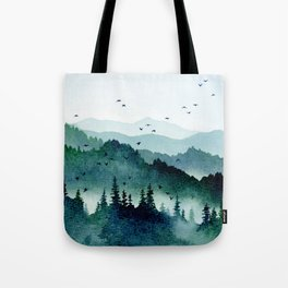 Watercolor Mountains - Handpainted Landscape Art Pine Trees Forest Wanderlust Tote Bag