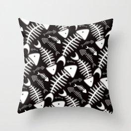 Fish Bone Black & White Throw Pillow