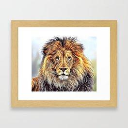 Lion Portrait Airbrush Artwork Framed Art Print