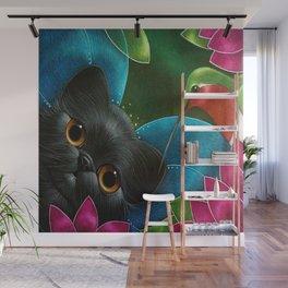 FAIRY KITTEN CAT with RUBY HUMMINGBIRD  Wall Mural
