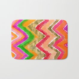 Shocking Pink & Gold Ikat Bath Mat