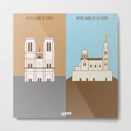 Notre Dame VS Bonne Mère (Paris VS Marseille) Metal Print