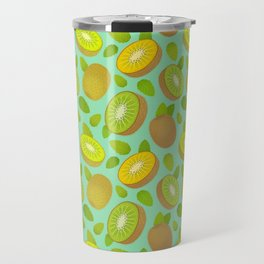 Kiwifruit Pattern Teal Travel Mug
