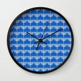 Hanukkah Chanukah Menorah Chanukkiah Pattern in White and Bright Blue Wall Clock