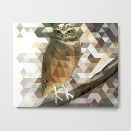 Burrowing Owl - Low Poly Technique Metal Print