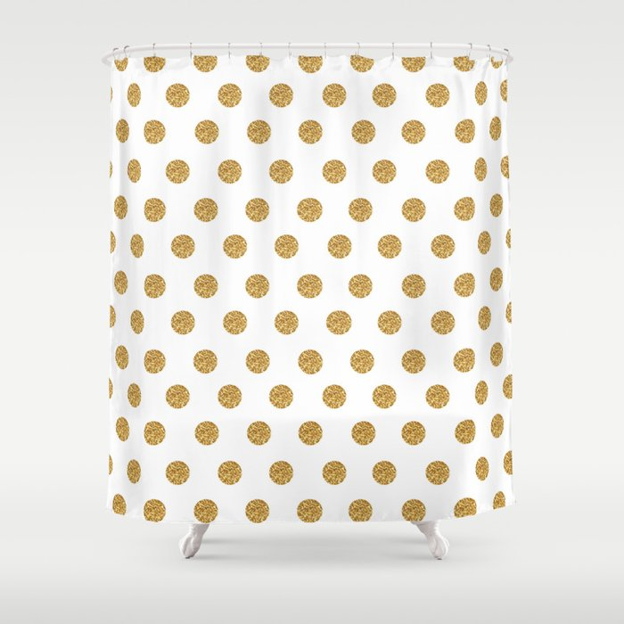 Gold Glitter Polka Dots Shower Curtain by cuteco | Society6
