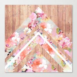 Vintage floral watercolor rustic brown wood geometric triangles Canvas Print