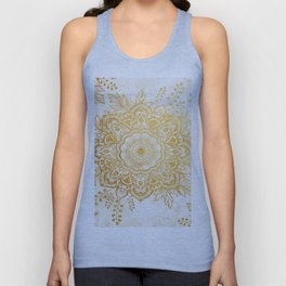Queen Starring of Mandala-Gold Sunflower Unisex Tank Top
