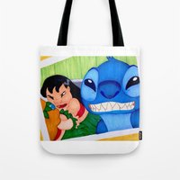 lilo and stitch Tote Bags featuring Lilo & Stitch Selfie by Olivia Iman