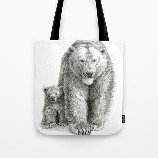 Polar bear and cub SK041 Tote Bag