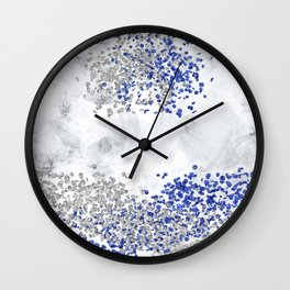 Abstract Art Colliding Worlds | silver Wall Clock