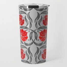 William Morris Pimpernel, Silver Gray and Red Travel Mug
