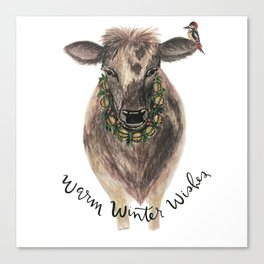 Warm winter wishes- cow Canvas Print