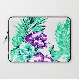 Vibrant Abstract Purple and Teal Tropical Flowers Laptop Sleeve