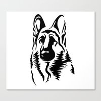 german shepherd Canvas Prints featuring German Shepherd by JonathanStephenHarris