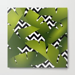 Banana Palm Leaves Green, Chevron Black and White Metal Print